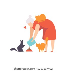 Elderly woman feeding her cats, , adorable pets and their owner vector Illustration on a white background