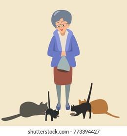 elderly woman feeds cats - funny vector cartoon  illustration of cat lover