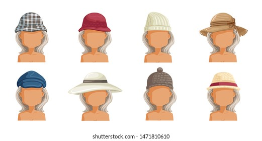 Elderly woman hat set. Collection of women's head.  Userpics of hair style different female. Variety and different types of fashion. Vector illustration.