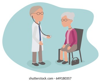 Elderly woman having health examination from Doctor with stethoscope - vector characters body parts grouped and easy to edit - limited palette