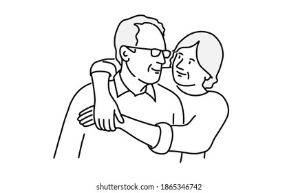 Elderly woman hugs her husband. Hand drawn vector illustration.