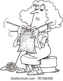 Elderly woman knits