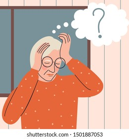 Elderly woman with memory loss portrait. Old woman trying to remember something. Alzheimer's symptom. Flat vector illustration