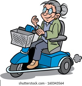 elderly woman on a scootmobile