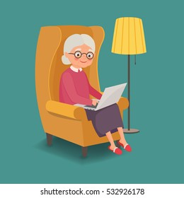 Elderly woman sitting in a chair with a laptop. Vector illustration