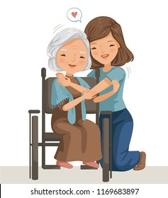 Elderly woman sitting on a wheelchair with daughter. Women are embracing older women.  affectionately. feeling happy of family relationship.Concept of care for the elderly, patients or the disabled.