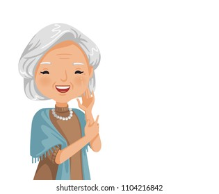 Elderly woman smiling. Old woman's face are laughing happily. Feeling happy of granny. Vector illustration isolated white background.