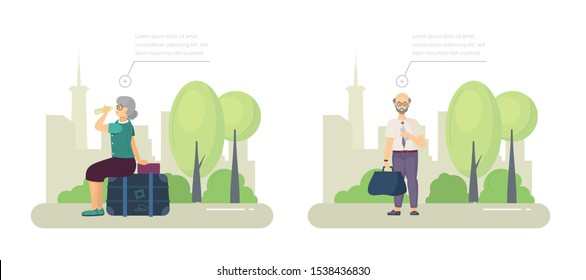 Elderly woman in summer park, sitting on suitcase with luggage, resting from the road with drinking water. Elderly man with train ticket and luggage bag is standing in park. Cartoon vector
