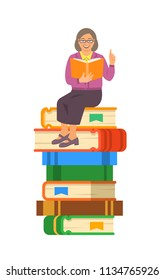 Elderly woman teacher reads open book sitting on stack of giant books. School education concept. Vector cartoon illustration. Senior person shares her knowledge