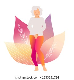 Elderly woman. Urinary incontinence, cystitis, involuntary urination woman vector illustration. Bladder problems. Menopause, woman health, genital infection, hygiene. Female problems.
