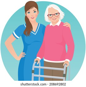 An elderly woman with a walker and nurse/Elderly patient and a nurse/Illustration of an elderly nursing home patient and nurse