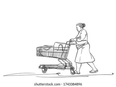 Elderly woman walking with supermarket cart, Vector sketch, Hand drawn illustration