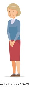 An elderly woman wearing blue clothes is standing obliquely