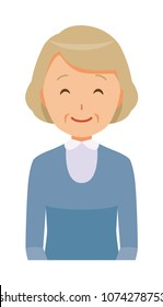 An elderly woman wearing blue clothes is smiling