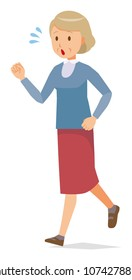 An elderly woman wearing blue clothes is running