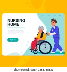 Elderly woman in wheelchair and male nurse. Horizontal web banner template. Social worker walking with grandmother in a wheelchair. Nursing home. Senior people flat Vector illustration