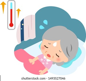 Elderly woman who cannot sleep at muggy night