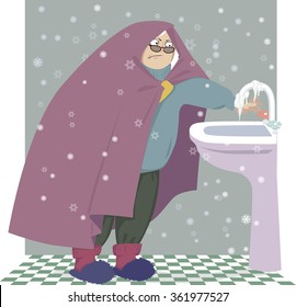 Elderly woman, wrapped in a blanket attempting to turn the water on, but the faucet is frozen, EPS 8 vector illustration