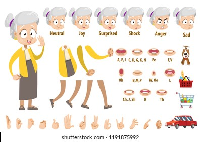Elderly woman in yellow blouse and grey skirt character. Creation set with various facial emotions, hand gestures and lips. Funny grandma personage constructor for custom animation vector illustration