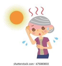 Elderly women with heat stroke.