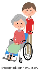 Elderly women sitting in a wheelchair and care giver