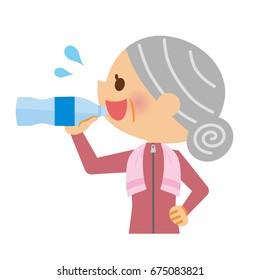 Elderly women who drink water.