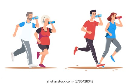 Elderly & young man & woman couples jogging. Drinking water hydrating set. Old or middle aged joggers run listening to music. Training, working out outdoors. Sport & wellness. Flat vector illustration