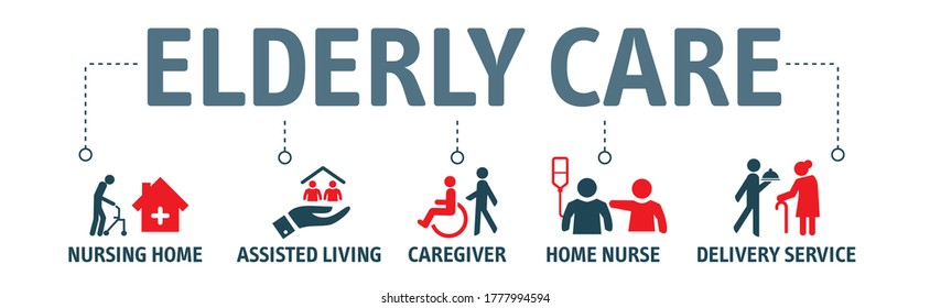 Eldery care vector icon concept. Caregiver, nursing home, assisted living, home nurse and support