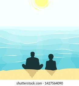 Eldery couple sitting on a beach
