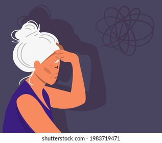 Eldery gray-haired woman with dementia and bewildered thoughts in her mind. Concept of memory loss anf fight with amnesia and mental disorder. Vector illustration.