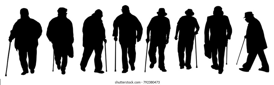 Eldery man silhouettes on a white background, vector illustration