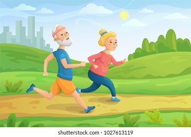eldery people character runs. Pensioners jogging together.Healthy lfestyle. Vector flat cartoon illustration. Mature couple engaged in fitness. Active aging.