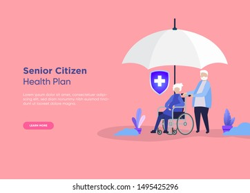 Eldery woman with her caregiver, wheel chair and shield. Home care or Elderly care concept. - Vector