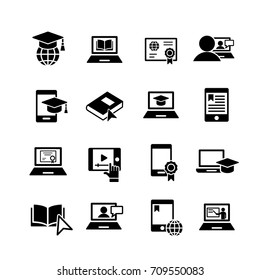 e-learning 16 simple icons set black on white background