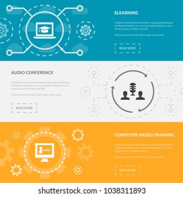 eLearning 3 horizontal webpage banners template with eLearning, Audio Conference, Computer-Based Training concept. Flat modern isolated icons illustration.