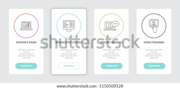 Elearning 4 Webpage Banners Line Concept Stock Vector (Royalty Free