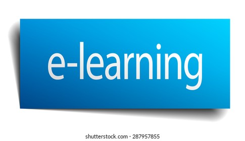 e-learning blue paper sign on white background