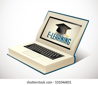 Elearning - book as laptop  electronic book concept