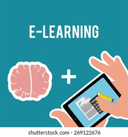 E-learning, brain and tablet over blue color background