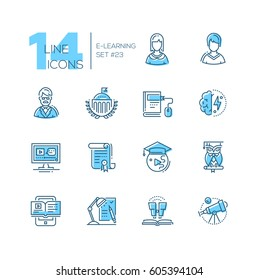 eLearning- coloured vector modern single line icons set. Male and female student, teacher, monitor, certificate of degree, tablet, owl, telescope, brain power.
