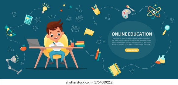 E-learning concept banner. Online education. Cute school boy using laptop. Study at home with hand-drawn elements. Web courses or tutorials, software for learning. Vector flat cartoon illustration