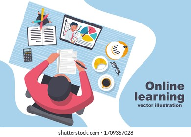 E-learning concept. Boy is studying at home during quarantine. Top view on the desktop. Video lesson with a teacher. Learning process. Vector illustration flat design. Isolated on white background.