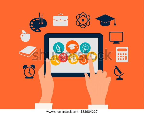 E-learning concept. Hands touching a tablet with education icons. Vector.