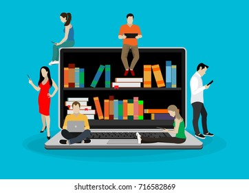 E-learning concept illustration of young people using laptop and tablet pc for distance studying and education. Guys and young women sitting on the big laptop and reading for self education