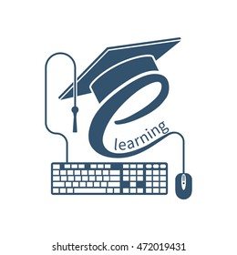 E-learning concept. Logo learning online center and graduation. Vector illustration flat design. Abstract background education