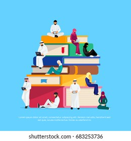 E-learning concept. Young Muslim people with tablet pc and laptops are engaged in distance learning on the Internet. Muslim students sitting on the books, busy reading. Vector illustration.