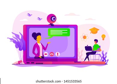 E-learning course. Virtual lecturer modern education technology. Online tutor, on-demand homework help, English teacher online concept. Vector isolated concept creative illustration