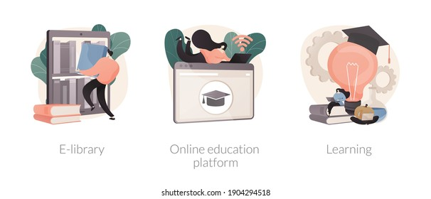 Elearning courses abstract concept vector illustration set. E-library, online education platform, learning, ebook reader, webcam conference at laptop screen, study skills abstract metaphor.