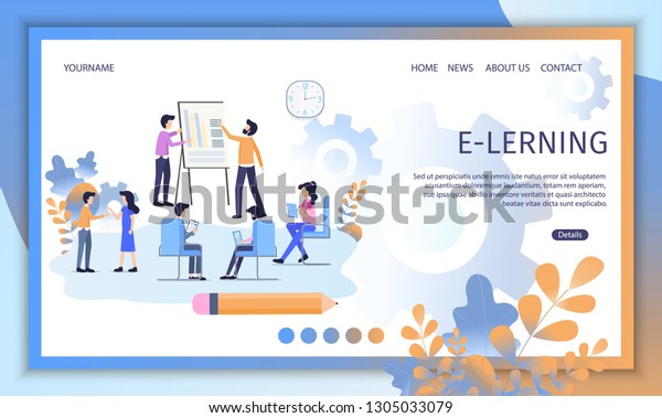 Elearning Courses Distant Education Service Flat Stock Vector Royalty Free 1305033079