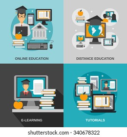 E-learning design concept set with online education flat icons isolated vector illustration